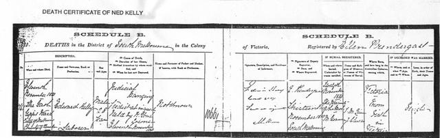 Copy of Ned Kelly's death certificate