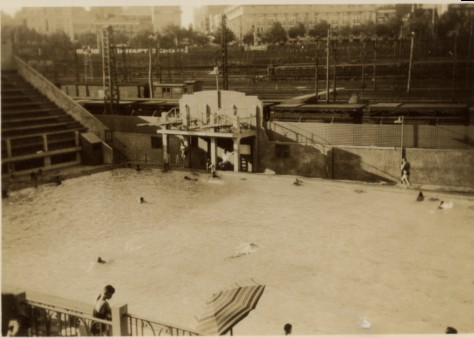 North Melbourne 1950s Melbourne Olympic Pool Old Diving Tower Main Pool From Grandstand