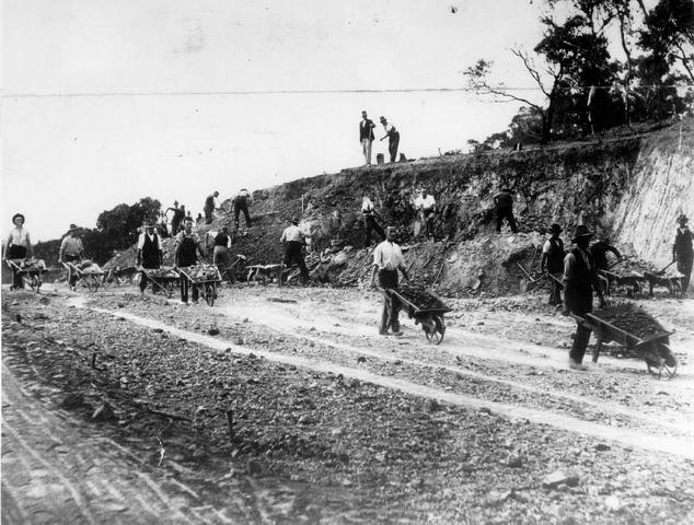 Workers constructing the Boulevard (Susso Drive)